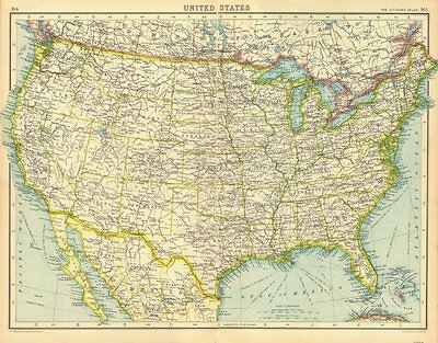 USA. United States general map. BARTHOLOMEW 1924 old vintage plan chart