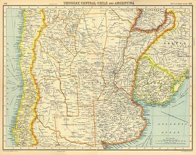 SOUTH AMERICA. Uruguay, Central Chile and Argentina. BARTHOLOMEW 1924 old map
