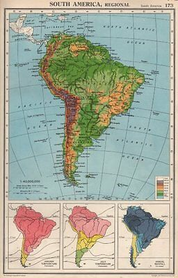SOUTH AMERICA. Physical Temperature & Rainfall. BARTHOLOMEW 1952 old map