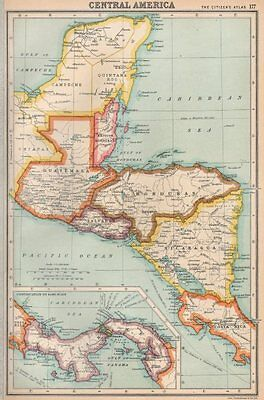 CENTRAL AMERICA. US Panama canal zone ownership shown. BARTHOLOMEW 1924 map