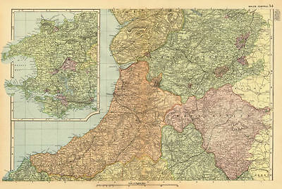 CENTRAL WALES. Cardigan/Montgomery/Radnor/Pembrokeshire. BACON 1896 old map