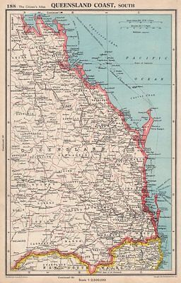 QUEENSLAND COAST, SOUTH. showing counties. BARTHOLOMEW 1952 old vintage map