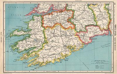 IRELAND SOUTH-WEST. Munster. Kerry Cork Limerick Tipperary Waterford 1952 map
