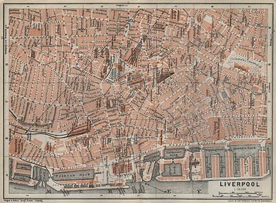 LIVERPOOL CITY CENTRE antique town plan. BAEDEKER 1927 old map chart