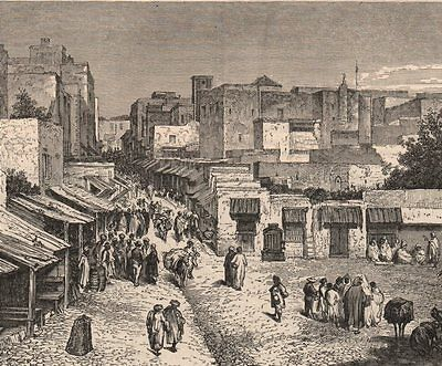 MOROCCO. Street in Tangier 1882 old antique vintage print picture