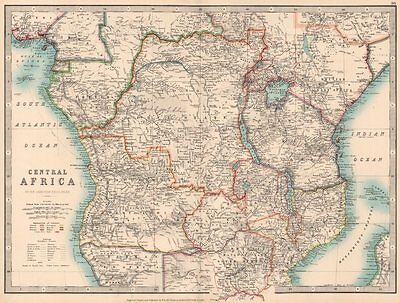 COLONIAL CENTRAL AFRICA. shows explorers routes & tribal names.JOHNSTON 1906 map