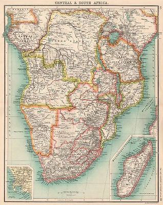 SOUTHERN AFRICA. Congo British Portuguese German East Africa Rhodesia 1901 map