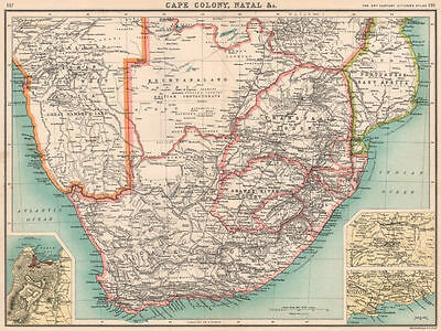 AFRICA S. Cape Colony Natal Bechuanaland Orange River Colony Transvaal 1901 map