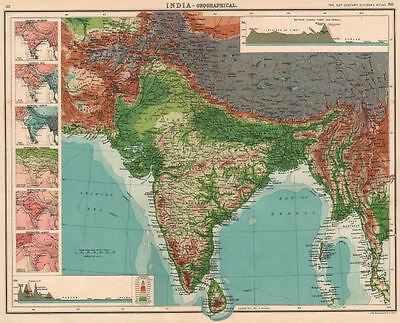 INDIA BURMA PHYSICAL.Relief.Rainfall temperature.Himalayas N-S sections 1901 map
