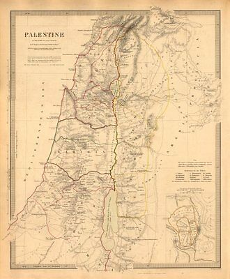 PALESTINE in the time of Our Saviour. Ancient Jerusalem. Israel. SDUK 1846 map