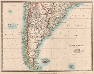 SOUTH AMERICA SOUTH SHEET. Shows Bolivia claim on Gran Chaco. JOHNSTON 1912 map