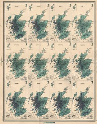 SCOTLAND average monthly rainfall for 25 years by Alexander Buchan 1912 map