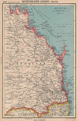 QUEENSLAND COAST, SOUTH. showing counties. BARTHOLOMEW 1944 old vintage map