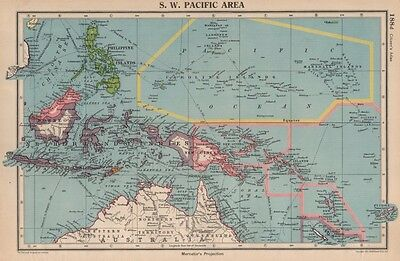 SOUTH-WEST PACIFIC shows Japanese-occupied Micronesia. Caroline Islands 1944 map