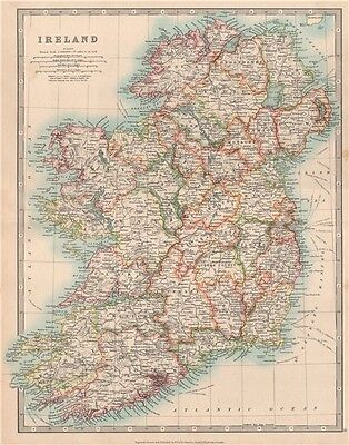 IRELAND showing battlefields and dates. JOHNSTON 1912 old antique map chart