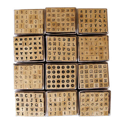 Alphabet Mini Rubber Stamps Letters wooden set of 30 from Dovecraft