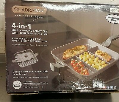 QuadraPan Professional 4 in 1 Multi-Cooking Pan with Glass Lid Charcoal