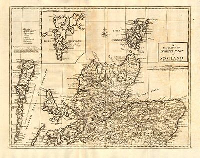 NORTHERN SCOTLAND. by ANDREW JOHNSTON from Camden's Britannia 1772 old map