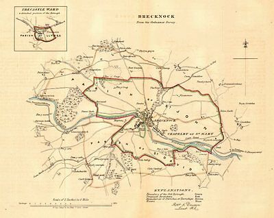 BRECKNOCK (BRECON) borough/town plan for the REFORM ACT. Wales. DAWSON 1832 map
