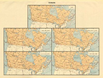 CANADA Isobars. WHITE 1906 old antique vintage map plan chart