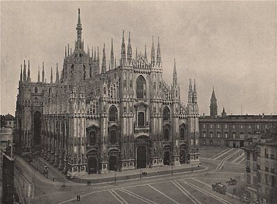 MILAN. The cathedral, Milan. Italy 1895 old antique vintage print picture