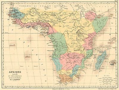 SUB-SAHARAN AFRICA showing French British Portuguese Spanish colonies 1880 map