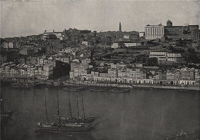 OPORTO. Panorama of the city. Portugal 1895 old antique vintage print picture