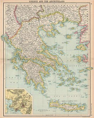 GREECE. Aegean & Ionian Islands Crete. Inset Athens. BARTHOLOMEW 1912 old map
