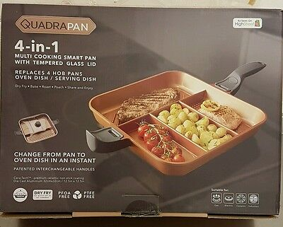 QuadraPan Professional 4 in 1 Multi-Cooking Pan with Glass Lid Copper