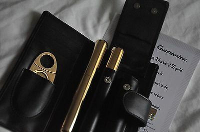 24K Gold Plated Cigar Tube Case Cohiba Cutter Stainless Steel + Genuine Leather