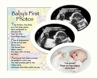 3 Photo Scan Picture Frame Mount First Baby Photos White Mount With Verse