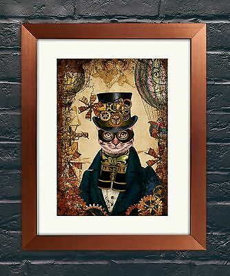 Steampunk Dandy Cat A3 Art Print Wall Art Home Decor Victoriana