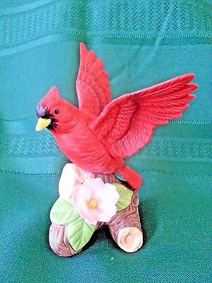 Fine Porcelain Red Cardinal with Flowers