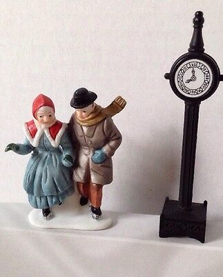 Retired Dept 56 Dickens Village Skaters and Metal Clock