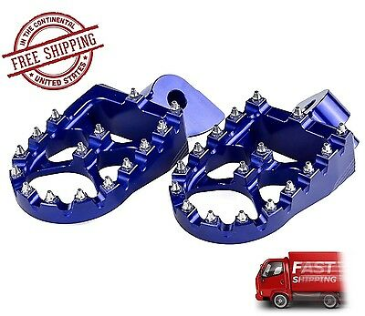Yamaha YZ 85 125 250 Foot Pegs Footrests WIDE FAT Anodized Blue