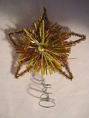 """Vtg Christmas Feather Tree Wire TINSEL STAR Mini Tree Topper 4"""" GOLD  EXC"""