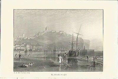 Antique Print The Harbours of England Scarborough by J.M.W. TURNER