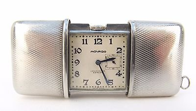 Stunning Rare Vintage Art Deco Movado Ermeto Chronometre Purse Watch Clock