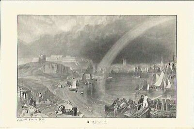 Antique Print The Harbours of England Plymouth by J.M.W TURNER Christmas Present