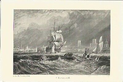 Antique Print The Harbours of England Portsmouth by J.M.W. TURNER