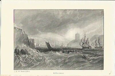 Antique Print The Harbours of England Catwater by J.M.W TURNER Christmas Present