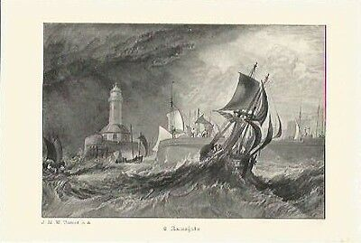 Antique Print The Harbours of England Ramsgate by J.M.W TURNER Christmas Present