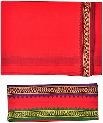 JISB Red Cotton Dhoti with Towel For Men