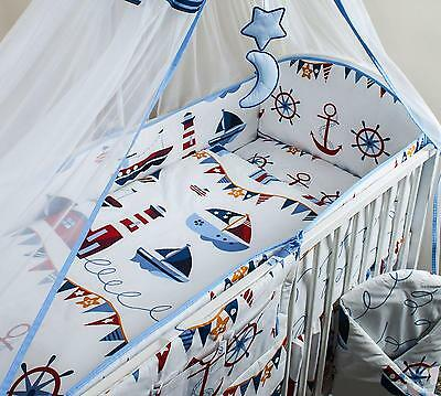 3 Piece Baby Cot Bedding Set with 4-sided Bumper to fit 120x60 cm - Pattern 16