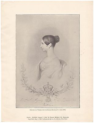 Her Majesty Queen Victoria Royal Family Royalty Antique Vintage Print