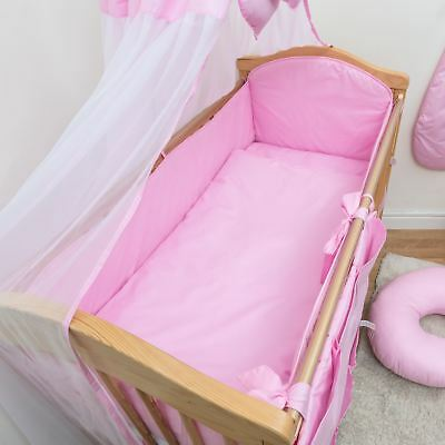 3 Piece Baby Cot Bedding Set with 4-sided Bumper to fit 140x70 cm - Plain Pink