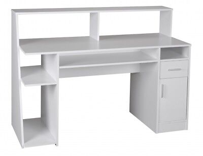 Wohnling multifunction computer desk table white 100cm office home furniture NEW