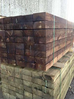 new railway sleepers 8ft long 200x100 brown pressure treated fencing paving