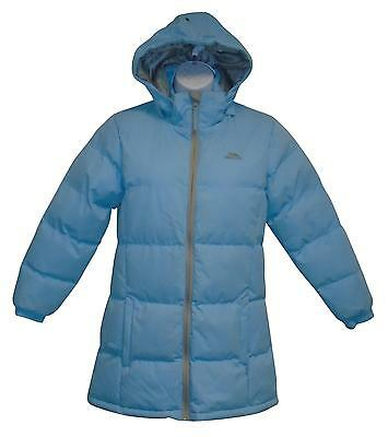 Used Girls Light Blue Trespass Puffa Jacket Age 9-10 Years (T.W)