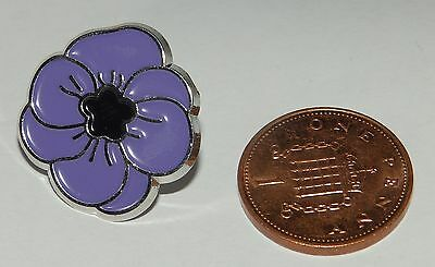 Purple and Silver Nickel Poppy pin badge with butterfly clasp 100% to Charity
